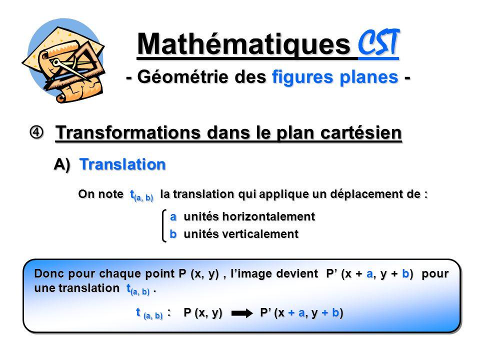 Mathématiques CST - Géométrie des figures planes - Transformations dans le plan cartésien Transformations dans le plan cartésien On note t (a, b) la t