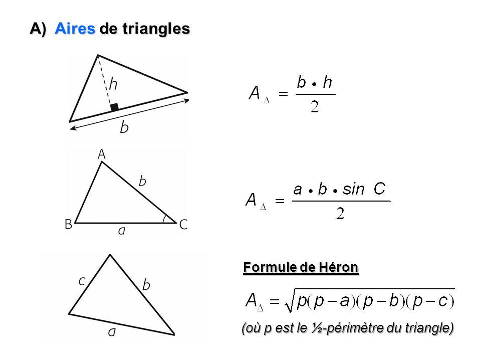 B) Aires de quadrilatères Rectangle Carré A carré c 2