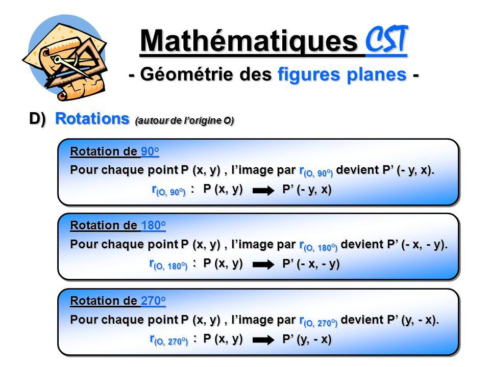 Mathématiques CST - Géométrie des figures planes - D) Rotations (autour de lorigine O) Pour chaque point P (x, y), limage par r (O, 90 o ) devient P (