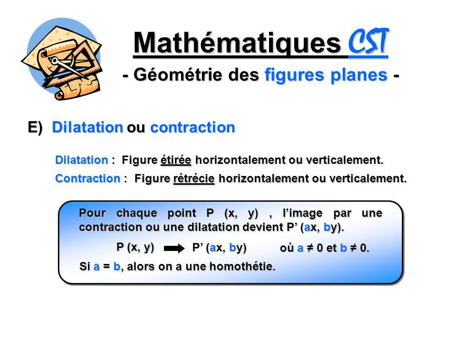 Mathématiques CST - Géométrie des figures planes - E) Dilatation ou contraction Dilatation : Figure étirée horizontalement ou verticalement. Pour chaq