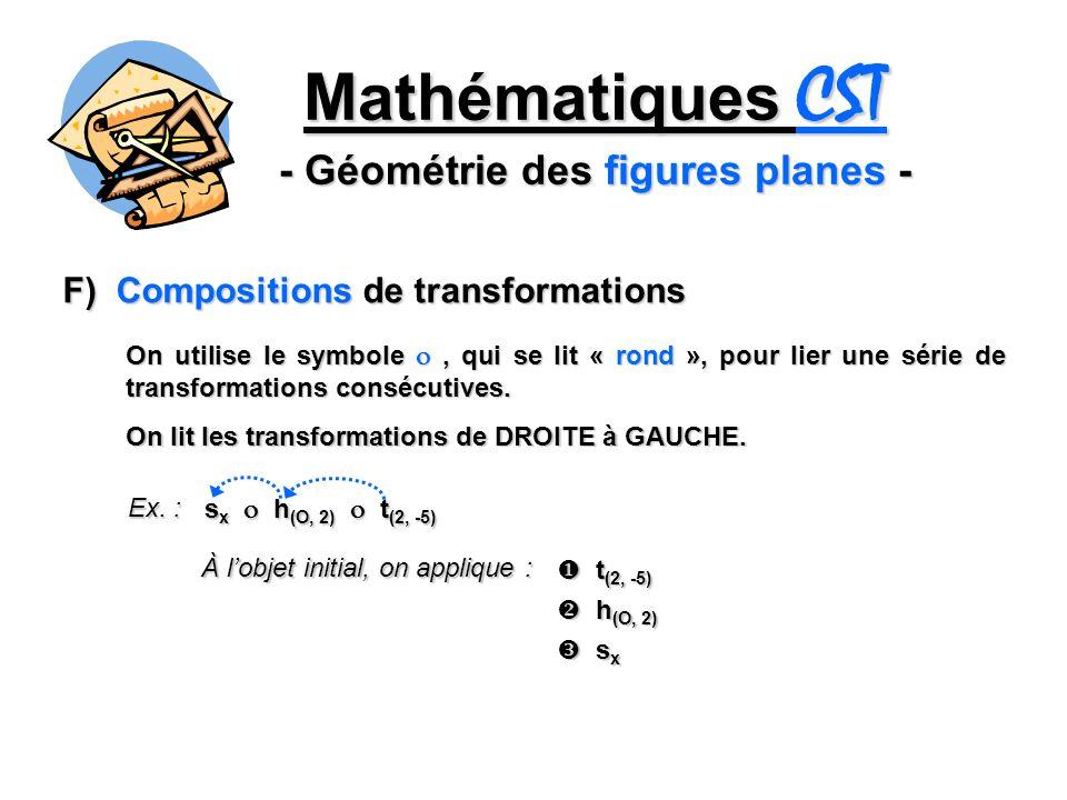 Mathématiques CST - Géométrie des figures planes - F) Compositions de transformations On utilise le symbole, qui se lit « rond », pour lier une série