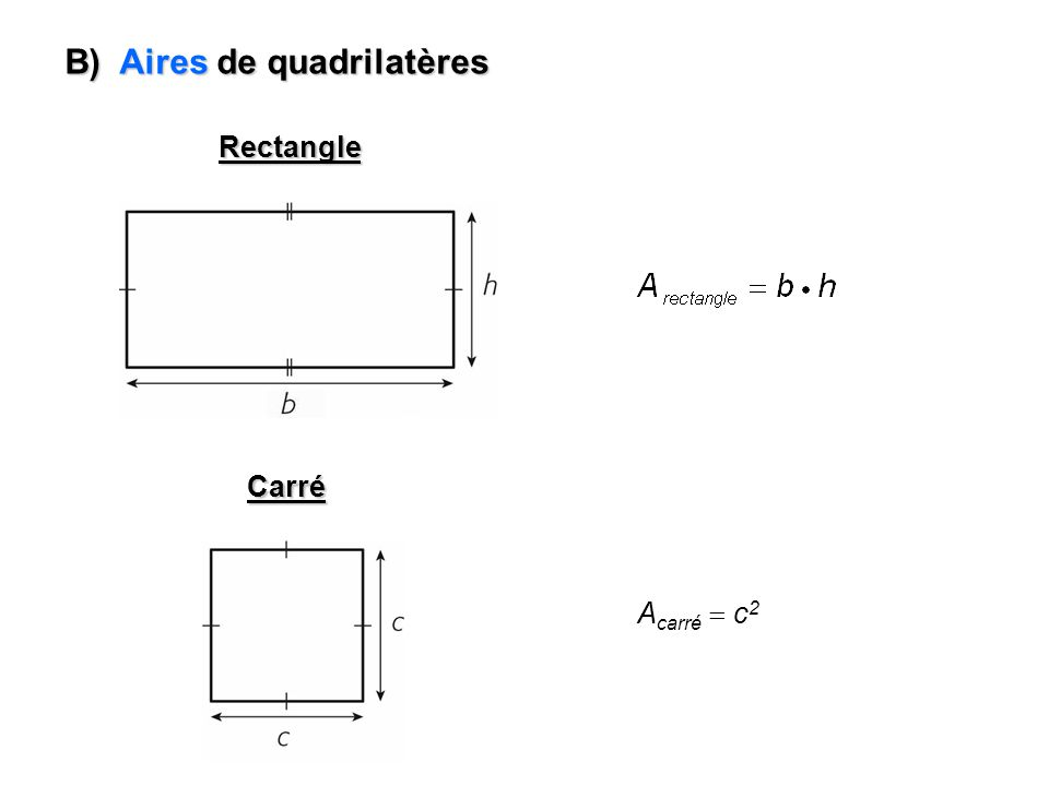 B) Aires de quadrilatères Parallélogramme A parallélogramme b h Trapèze A trapèze