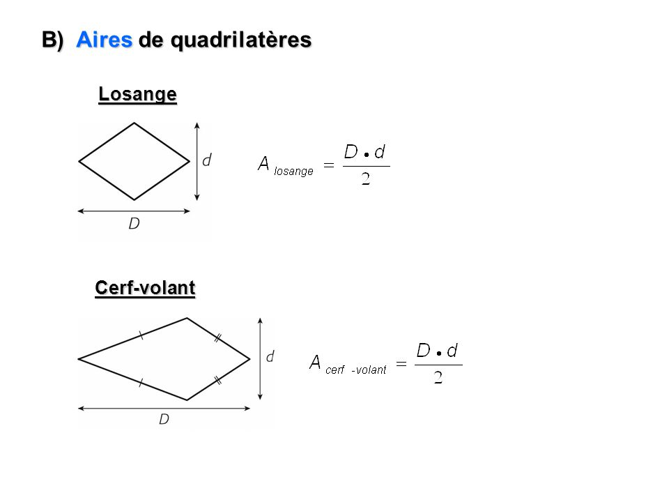 B) Aires de quadrilatères Losange Cerf-volant