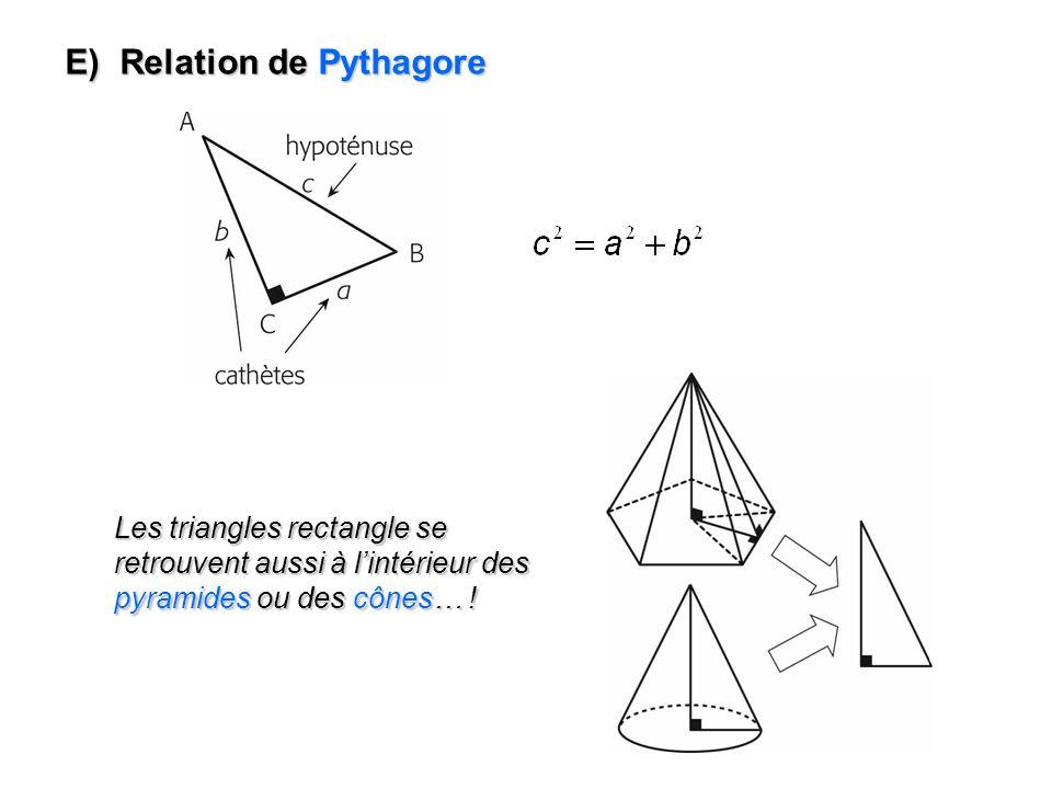 E) Relation de Pythagore Les triangles rectangle se retrouvent aussi à lintérieur des pyramides ou des cônes… !