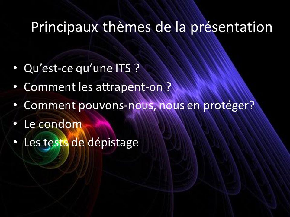 Principaux thèmes de la présentation Quest-ce quune ITS ? Comment les attrapent-on ? Comment pouvons-nous, nous en protéger? Le condom Les tests de dé