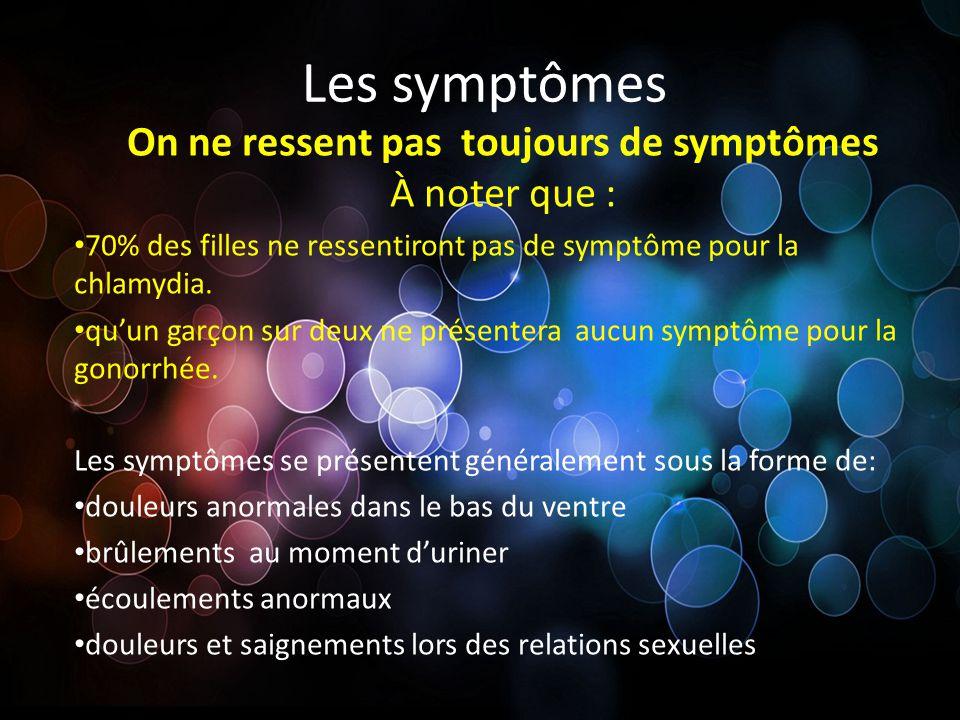 Les symptômes On ne ressent pas toujours de symptômes À noter que : 70% des filles ne ressentiront pas de symptôme pour la chlamydia. quun garçon sur