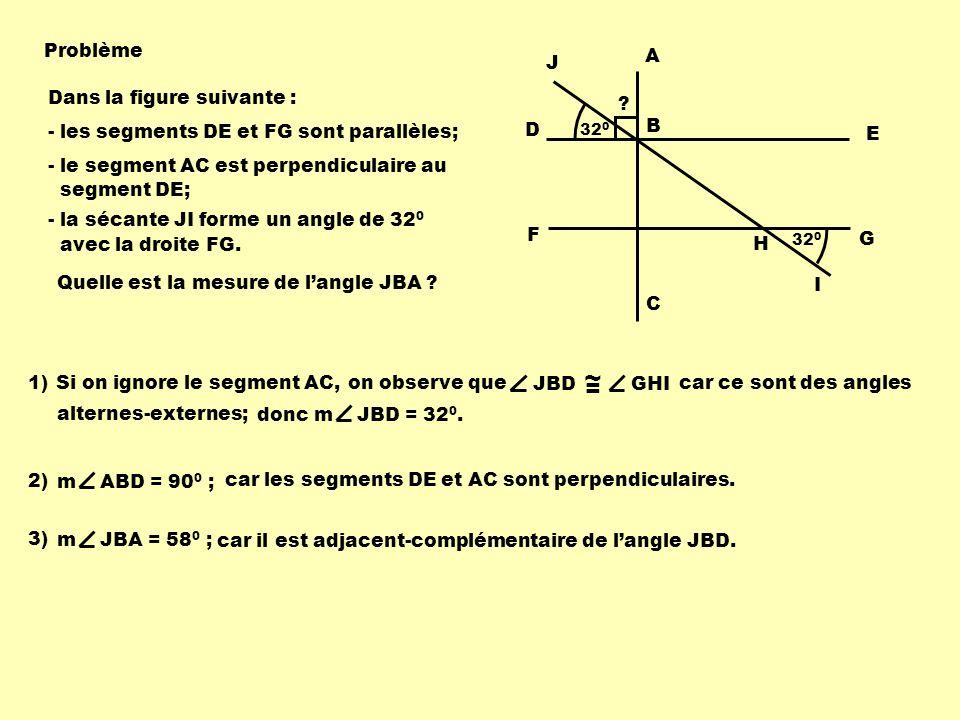 Problème 32 0 F G D E J B A C 1)Si on ignore le segment AC, JBD ~ = GHI on observe que H I car ce sont des angles alternes-externes; Dans la figure su