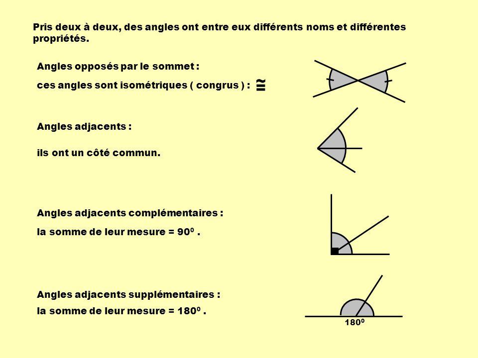 Pris deux à deux, des angles ont entre eux différents noms et différentes propriétés. Angles opposés par le sommet : ces angles sont isométriques ( co
