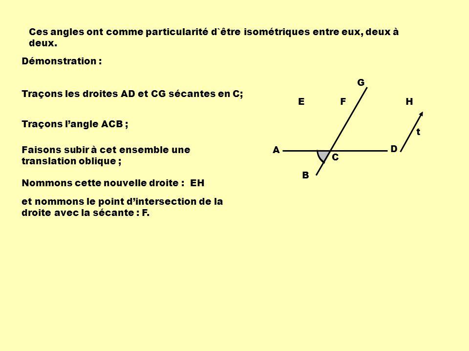 Ces angles ont comme particularité d`être isométriques entre eux, deux à deux. Démonstration : B F A C D G EH Traçons les droites AD et CG sécantes en