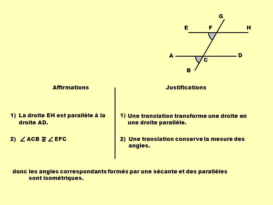 B F A C D G EH Affirmations Justifications La droite EH est parallèle à la droite AD. 1) Une translation transforme une droite en une droite parallèle