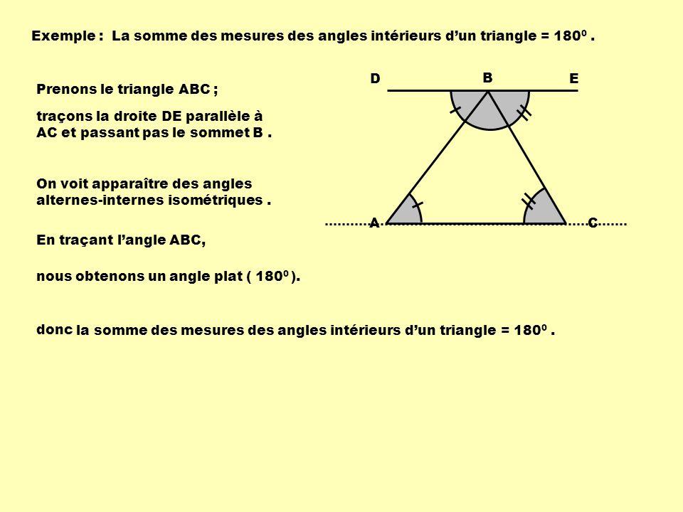 Exemple :La somme des mesures des angles intérieurs dun triangle = 180 0. Prenons le triangle ABC ; A B C traçons la droite DE parallèle à AC et passa