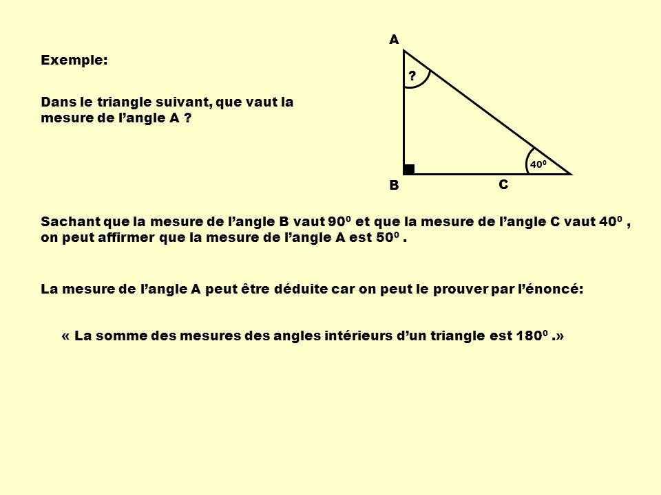 Exemple: A B C .40 0 Dans le triangle suivant, que vaut la mesure de langle A .