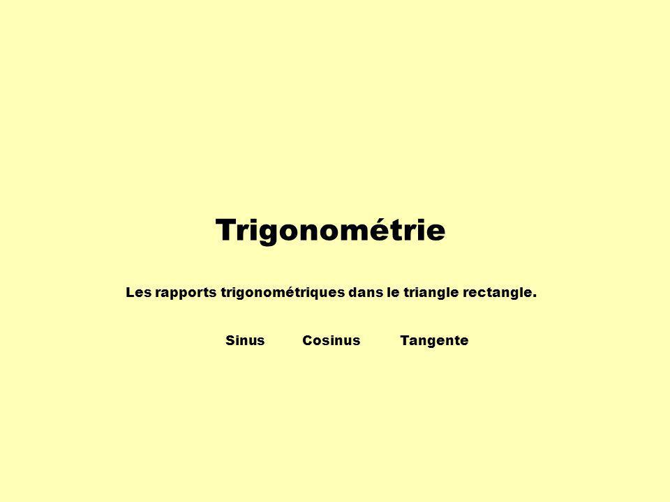 Trigonométrie Les rapports trigonométriques dans le triangle rectangle. SinusCosinusTangente