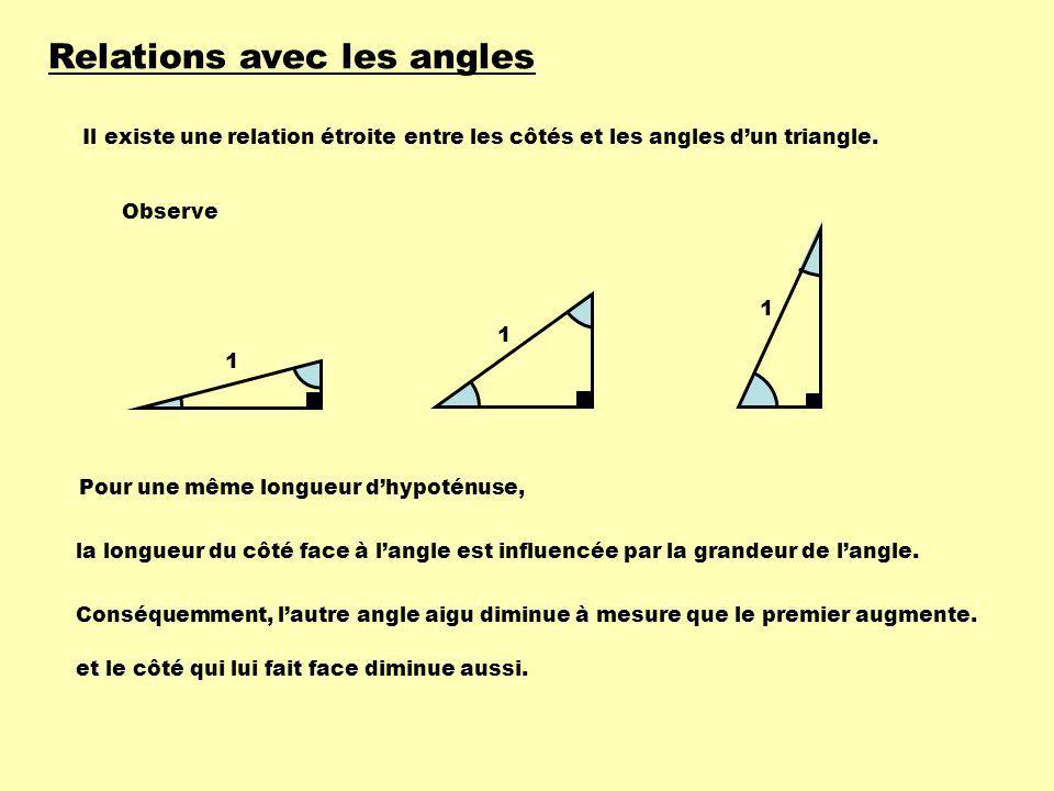 Relations avec les angles Il existe une relation étroite entre les côtés et les angles dun triangle. Observe la longueur du côté face à langle est inf
