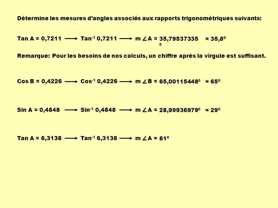 Détermine les mesures dangles associés aux rapports trigonométriques suivants: Tan A = 0,7211m A = 35,79537335 0 35,8 0 Remarque:Pour les besoins de n