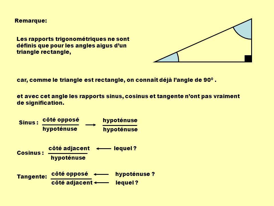 Remarque: Les rapports trigonométriques ne sont définis que pour les angles aigus dun triangle rectangle, car, comme le triangle est rectangle, on con