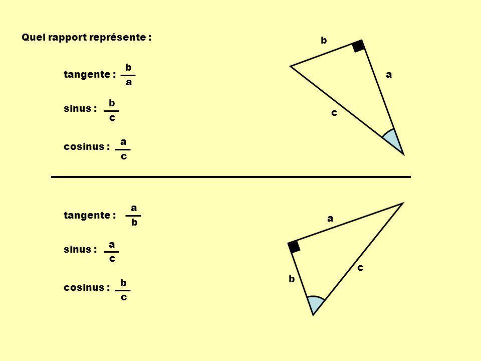 Quel rapport représente : a b c b a tangente : b c sinus : a c cosinus : a b c a b tangente : a c sinus : b c cosinus :