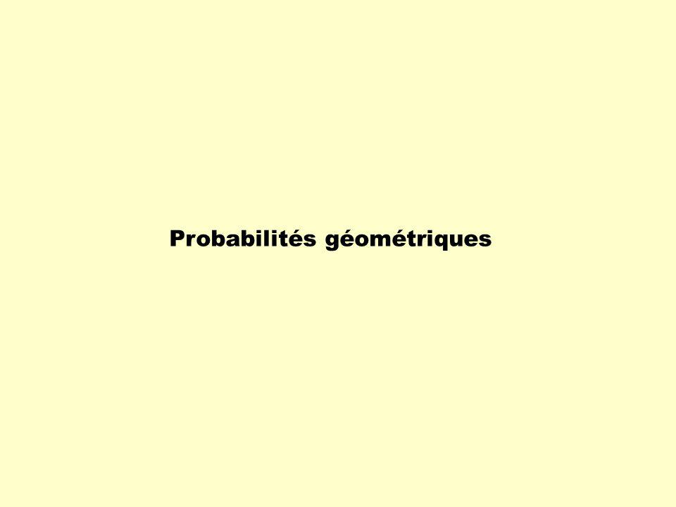 Probabilité géométrique La probabilité géométrique est liée à la réalisation dun résultat dune expérience aléatoire dans un contexte géométrique.