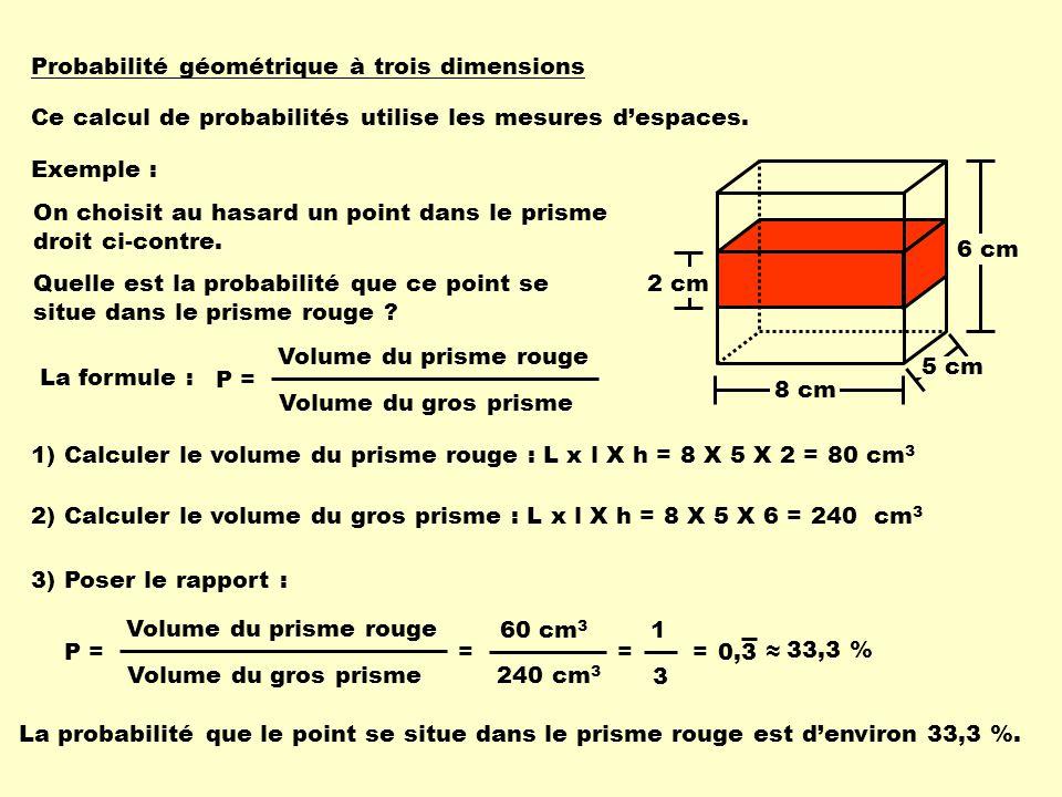 Probabilité géométrique à trois dimensions Ce calcul de probabilités utilise les mesures despaces. Exemple : 8 cm 6 cm 5 cm 2 cm On choisit au hasard
