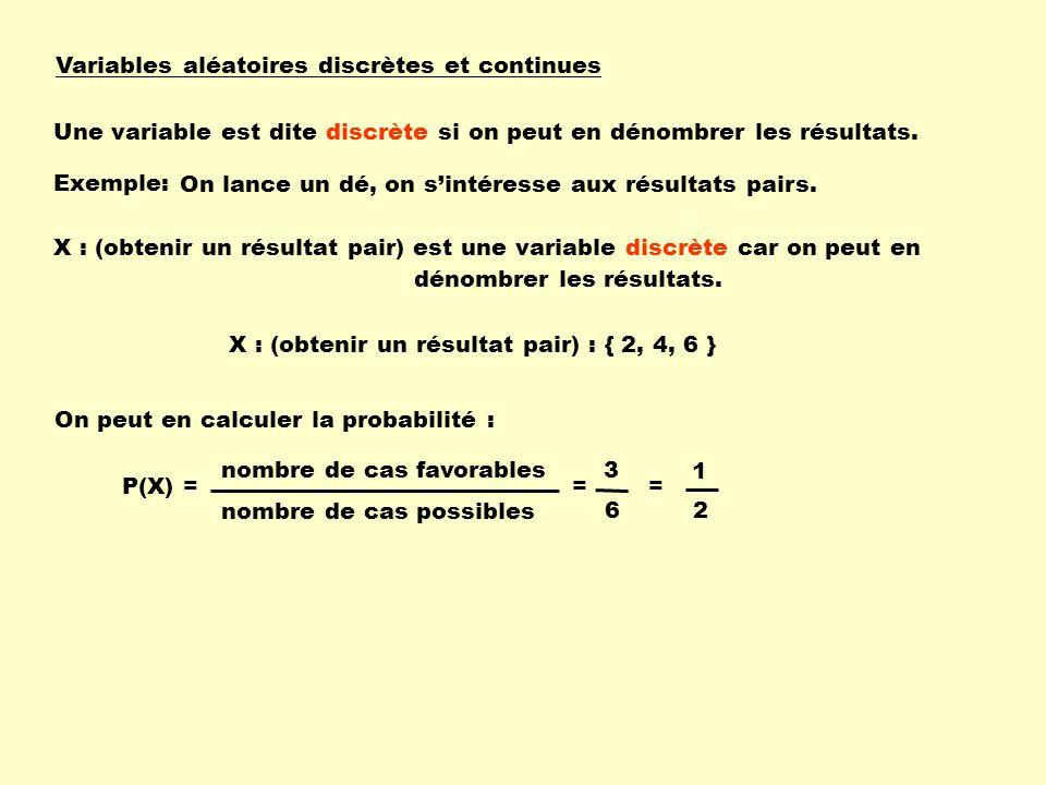 Variables aléatoires discrètes et continues Une variable est dite discrète si on peut en dénombrer les résultats. Exemple: On lance un dé, on sintéres