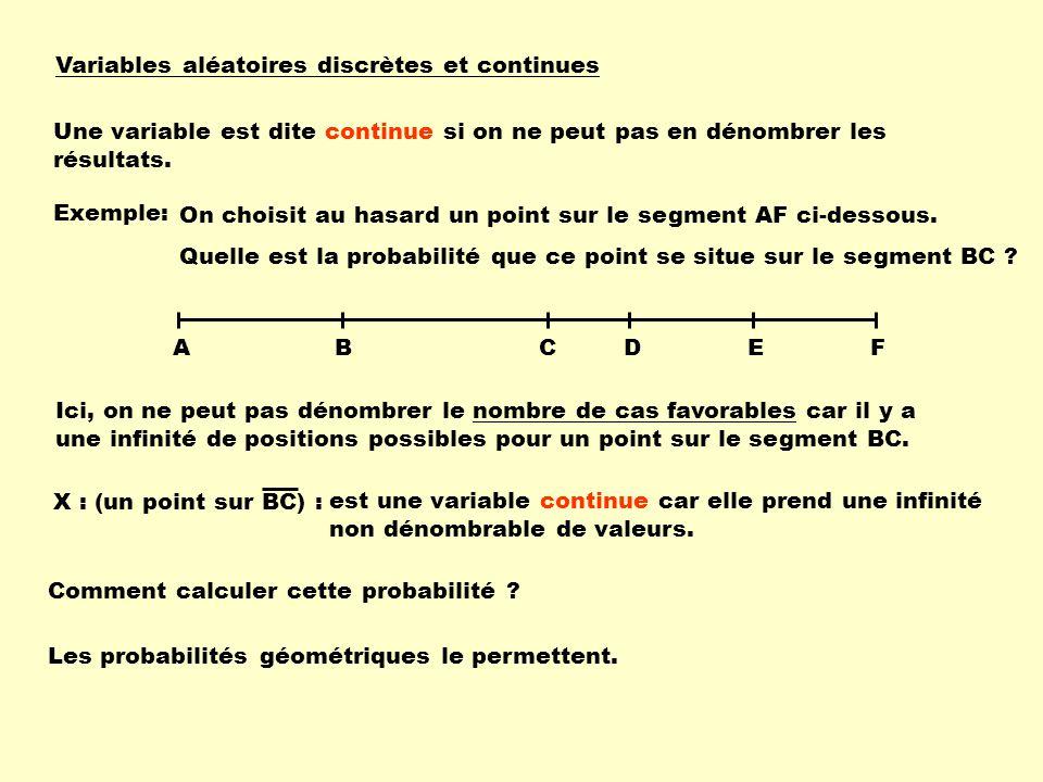 Variables aléatoires discrètes et continues Une variable est dite continue si on ne peut pas en dénombrer les résultats. Exemple: est une variable con