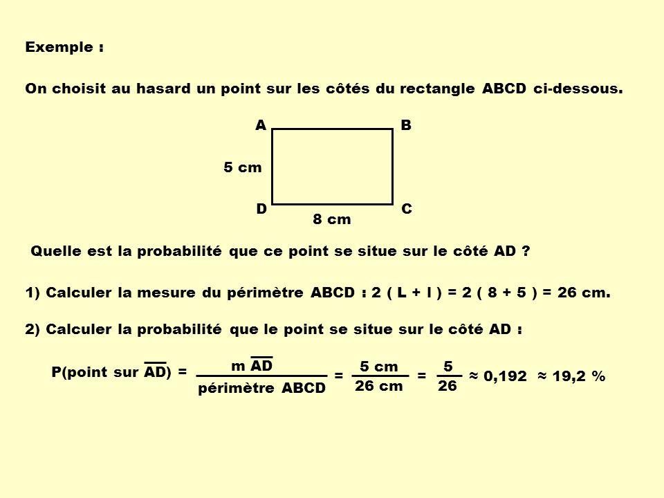 Exemple : On choisit au hasard un point sur les côtés du rectangle ABCD ci-dessous. A D B C 8 cm 5 cm Quelle est la probabilité que ce point se situe