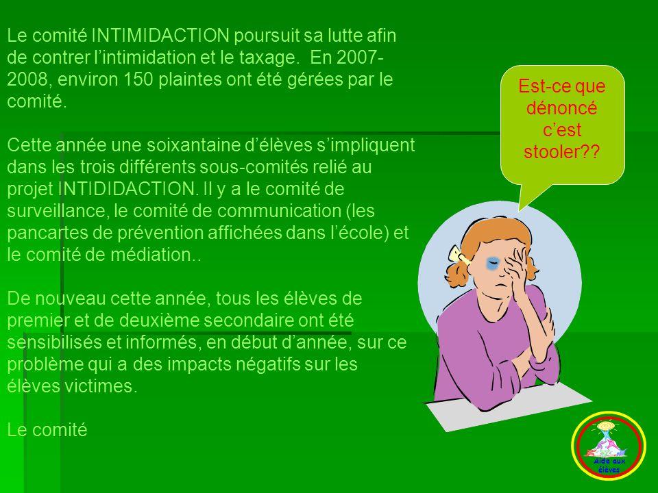 Quelques informations concernant lintimidation : - Lintimidation est souvent ignorée ou banalisée.