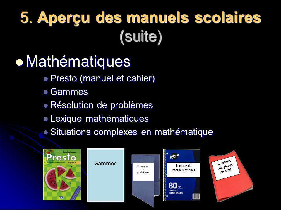 5. Aperçu des manuels scolaires Français Français Mordicus (compréhension de lecture) Mordicus (compréhension de lecture) Cyclade (lecture) Cyclade (l
