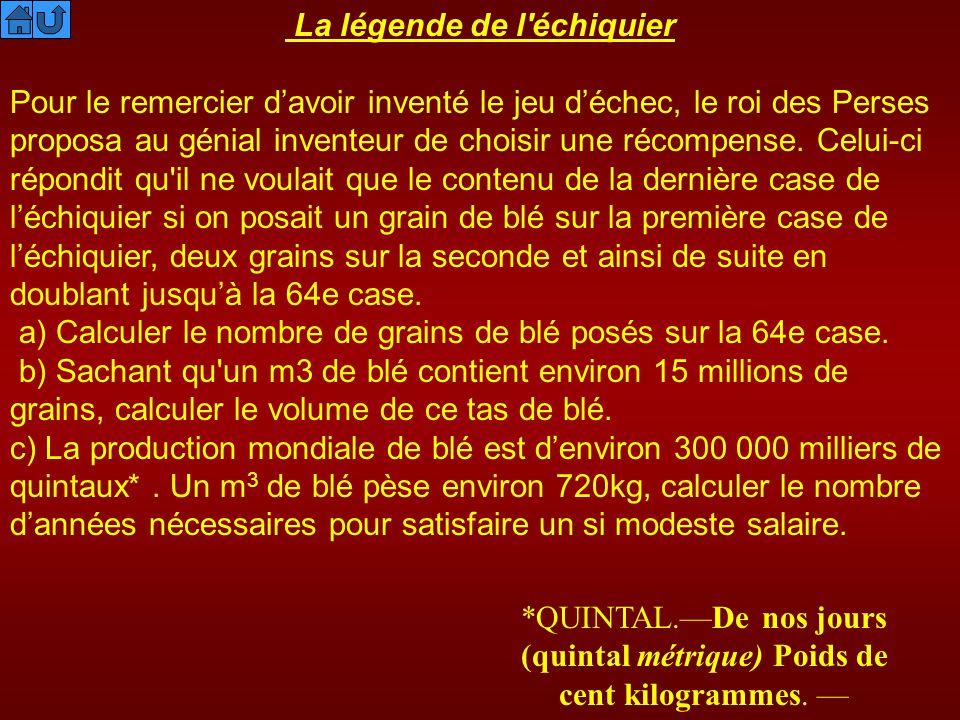 « qu il ne voulait que le contenu de la dernière case de léchiquier si on posait un grain de blé sur la première case de léchiquier, deux grains sur la seconde et ainsi de suite en doublant jusqu à la 64e case.