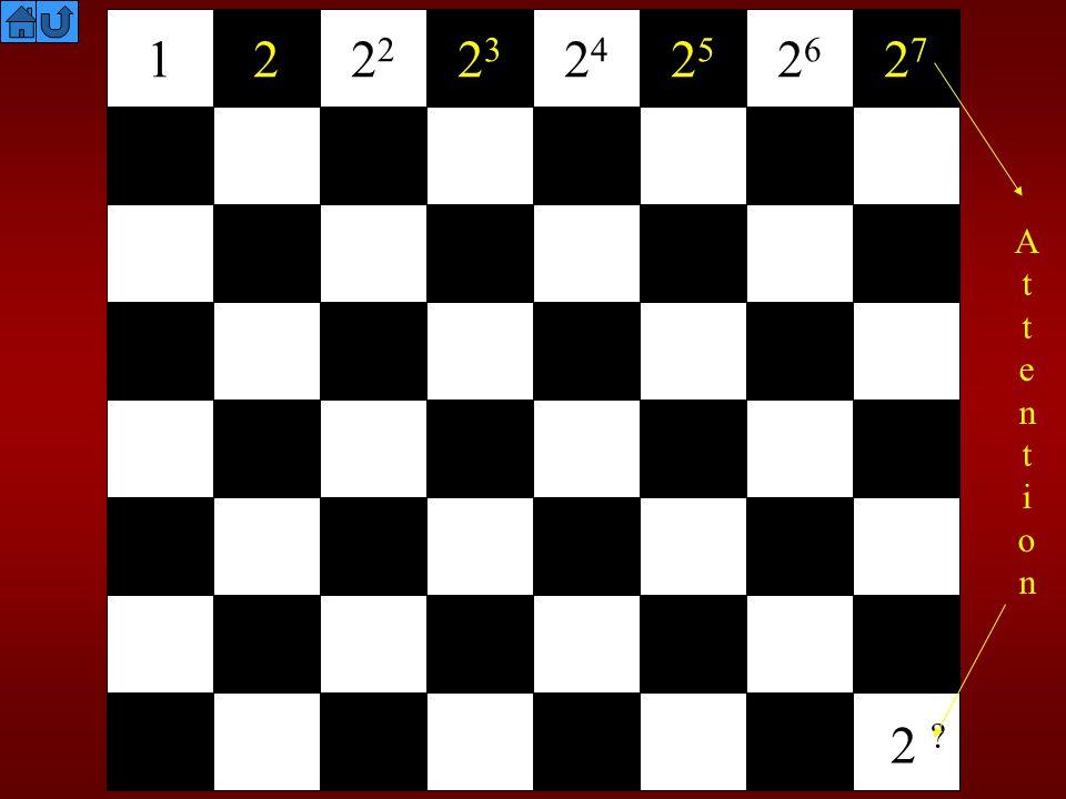 Il y a donc 2 63 grains de blé Une calculatrice affiche 9.22337 18 Cela signifie 9.22337 x 10 18.