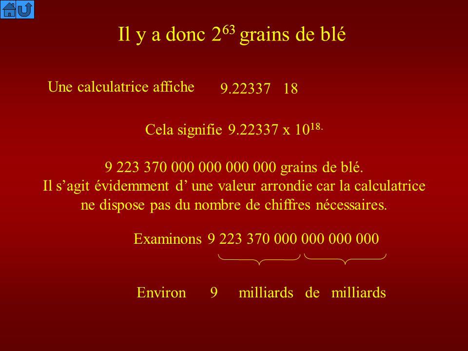 Il y a donc 2 63 grains de blé Une calculatrice affiche 9.22337 18 Cela signifie 9.22337 x 10 18. 9 223 370 000 grains de blé. Il sagit évidemment d u