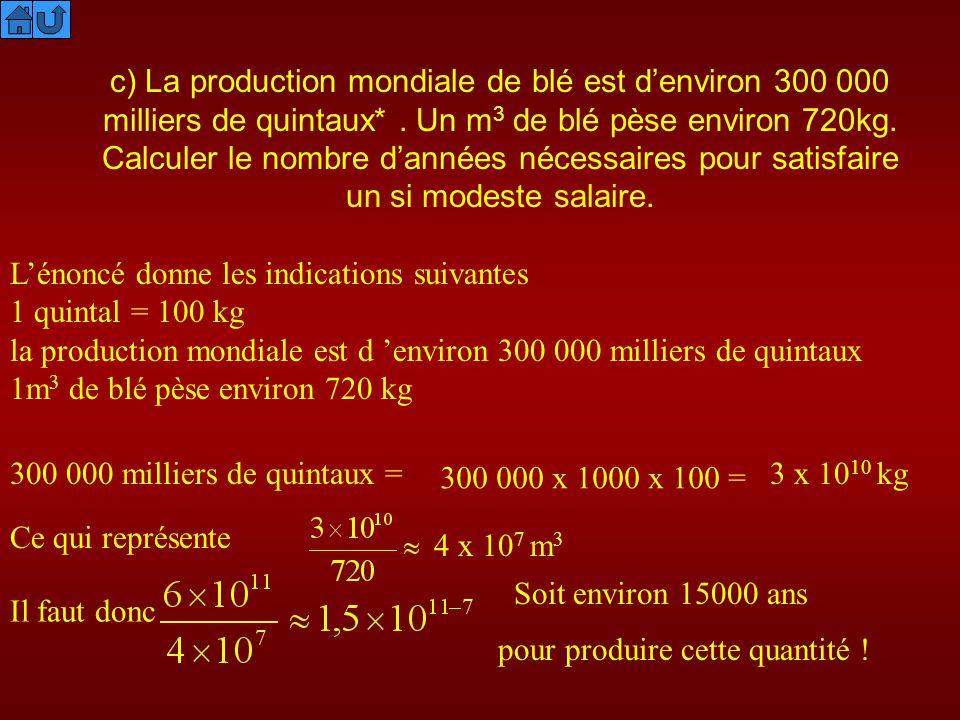 c) La production mondiale de blé est denviron 300 000 milliers de quintaux*. Un m 3 de blé pèse environ 720kg. Calculer le nombre dannées nécessaires