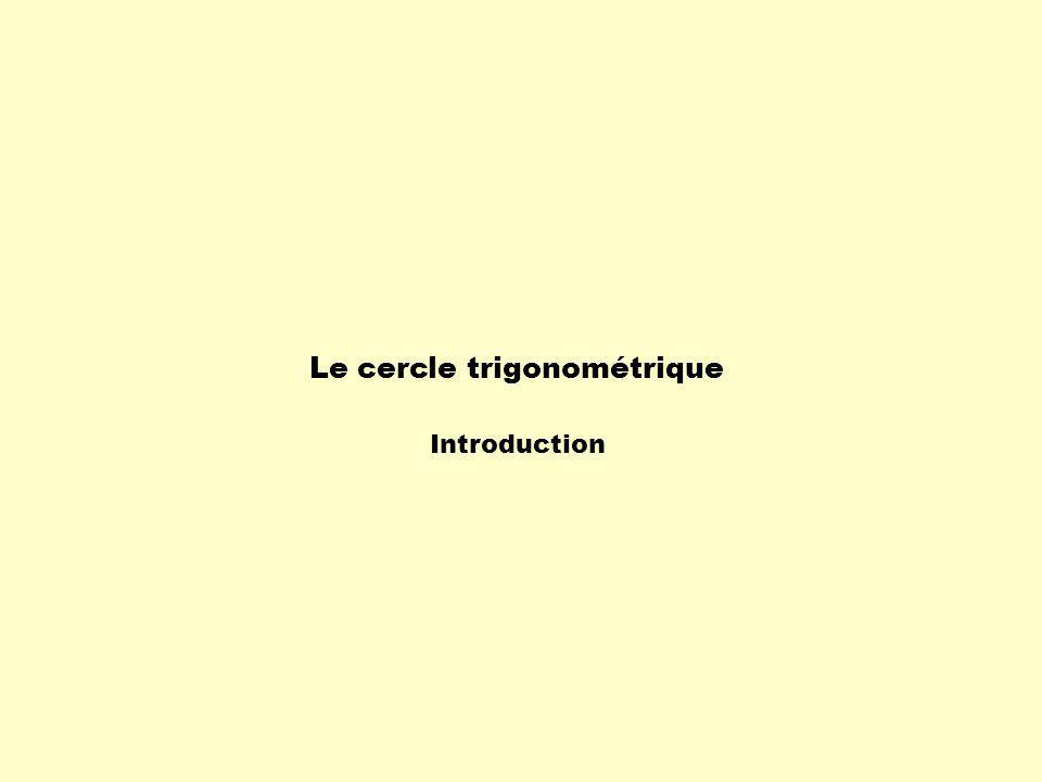 Le cercle trigonométrique Introduction