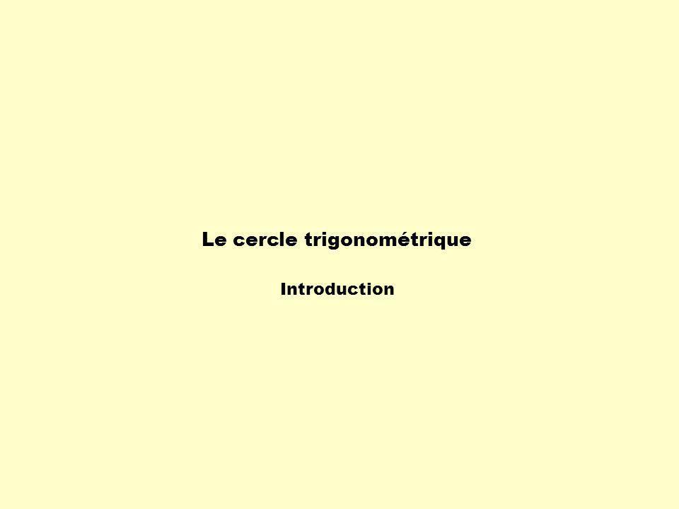 Définition:Le cercle trigonométrique est un cercle centré à lorigine du plan cartésien et ayant un rayon égal à 1.