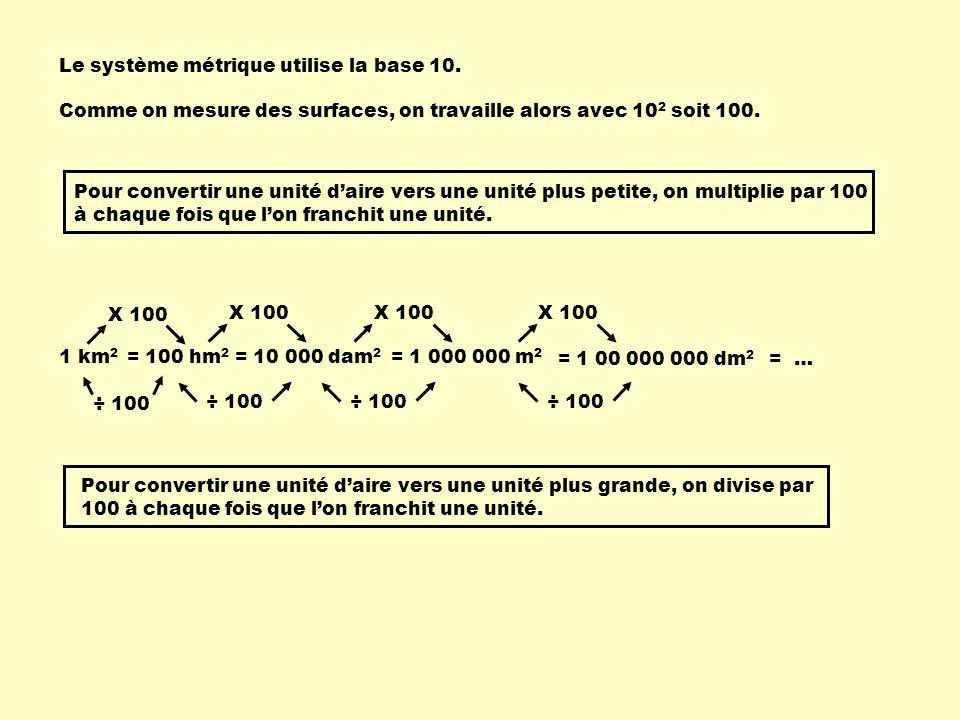 Le système métrique utilise la base 10. 1 km 2 = 10 000 dam 2 = 1 000 000 m 2 = 1 00 000 000 dm 2 = 100 hm 2 Pour convertir une unité daire vers une u