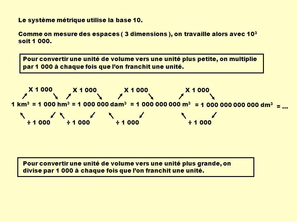 Le système métrique utilise la base 10. 1 km 3 = 1 000 000 dam 3 = 1 000 000 000 m 3 = 1 000 hm 3 Pour convertir une unité de volume vers une unité pl