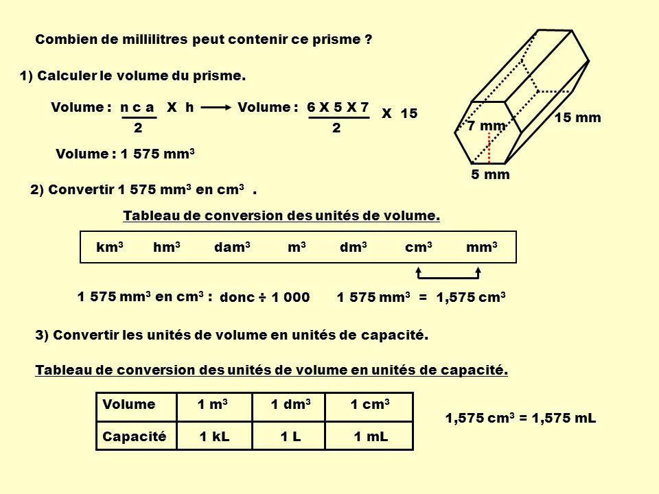 Volume : 6 X 5 X 7 2 Volume : n c a X h 2 X 15 Combien de millilitres peut contenir ce prisme ? 5 mm 7 mm 15 mm Volume : 1 575 mm 3 1) Calculer le vol