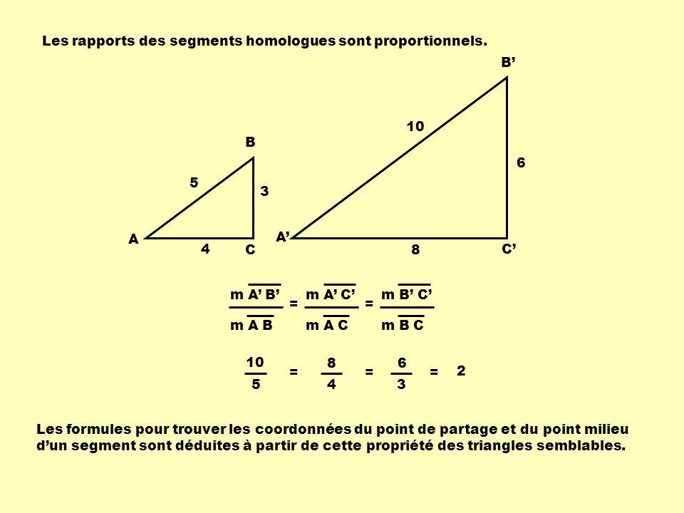 3 4 5 A B C A B C 8 6 10 Les rapports des segments homologues sont proportionnels. 10 5 = 8 4 = 6 3 = 2 Les formules pour trouver les coordonnées du p