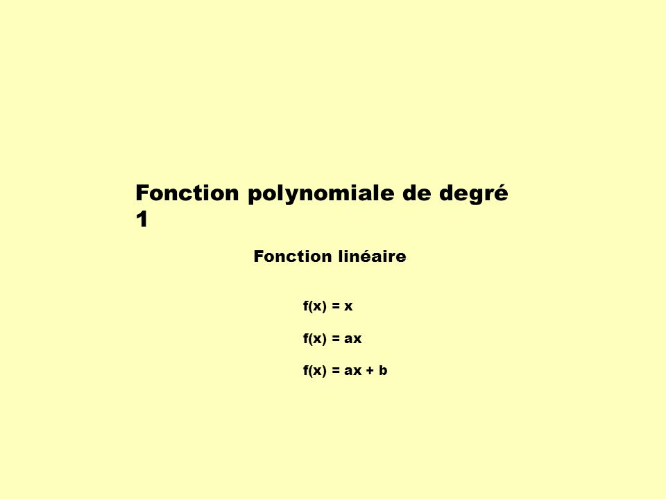 … x f(x) … … … -3 9 -2 4 1 0 0 1 1 2 4 3 9 Exemple: x1x1 x2x2 - y1y1 y2y2 - = 1 - 0 = 1 4 - 1 2 - 1 = 3 9 - 4 3 - 2 = 5 Cette table de valeurs ne représente pas une fonction linéaire car le taux de variation nest pas constant.