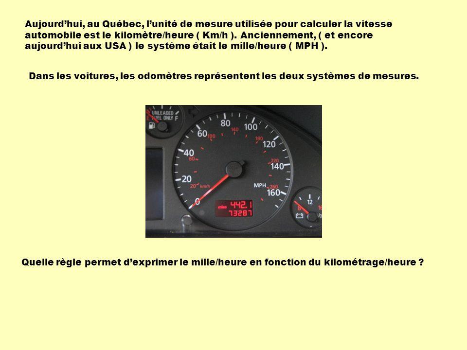 Aujourdhui, au Québec, lunité de mesure utilisée pour calculer la vitesse automobile est le kilomètre/heure ( Km/h ).