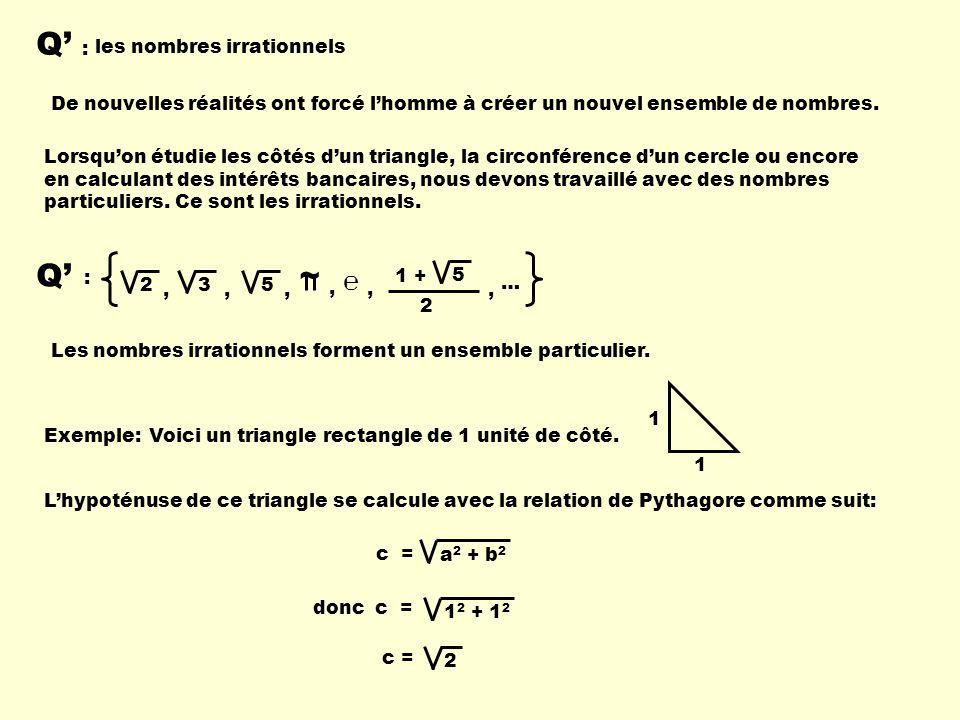 Q : les nombres irrationnels De nouvelles réalités ont forcé lhomme à créer un nouvel ensemble de nombres. Q : 235 ~ 1 + 5 2,,,,, …, Exemple:Voici un