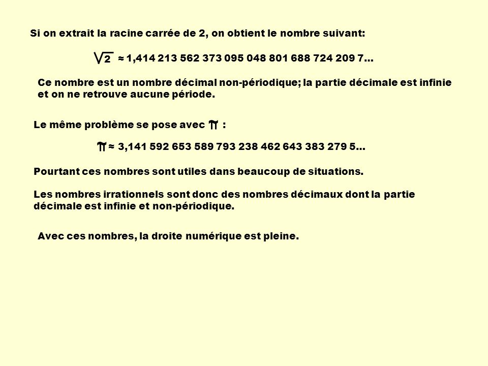 Si on extrait la racine carrée de 2, on obtient le nombre suivant: 2 1,414 213 562 373 095 048 801 688 724 209 7… Ce nombre est un nombre décimal non-