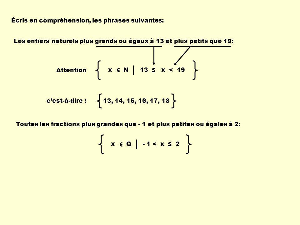 x N 13 x < 19x Q - 1 < x 2 Les entiers naturels plus grands ou égaux à 13 et plus petits que 19: Écris en compréhension, les phrases suivantes: Attent