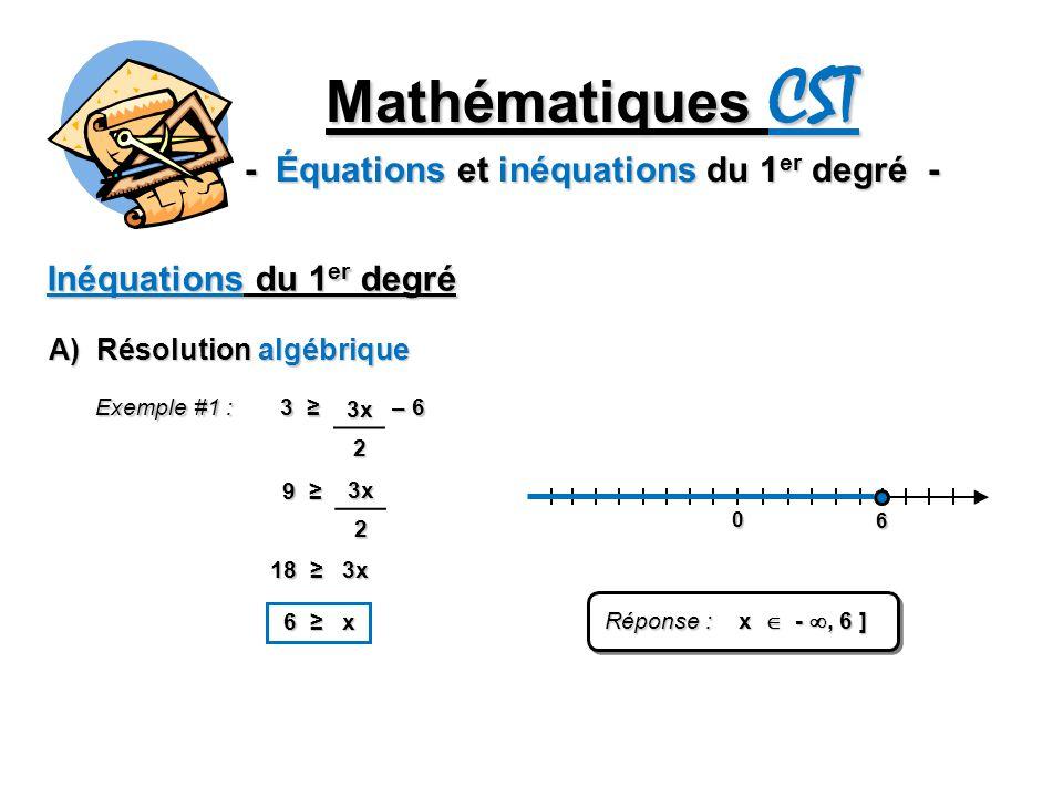 Mathématiques CST - Équations et inéquations du 1 er degré - Inéquations du 1 er degré A) Résolution algébrique Exemple #1 : 3 – 6 3x2 93x2 18 3x 6 x