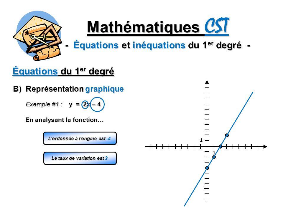 Mathématiques CST - Équations et inéquations du 1 er degré - Équations du 1 er degré B) Représentation graphique 1 1 Exemple #1 : y = 2x – 4 Lordonnée