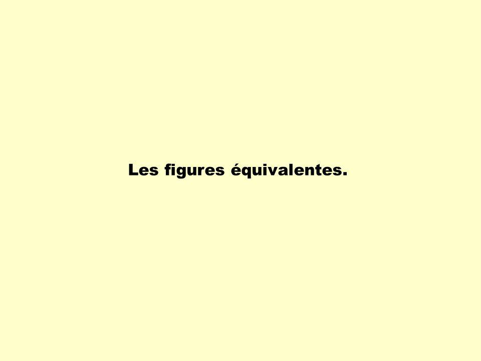 Les figures équivalentes ont les propriétés suivantes: - des figures planes ( 2 D ) qui ont la même aire sont dites équivalentes; - des solides ( figures 3D ) qui ont le même volume sont dits équivalents.