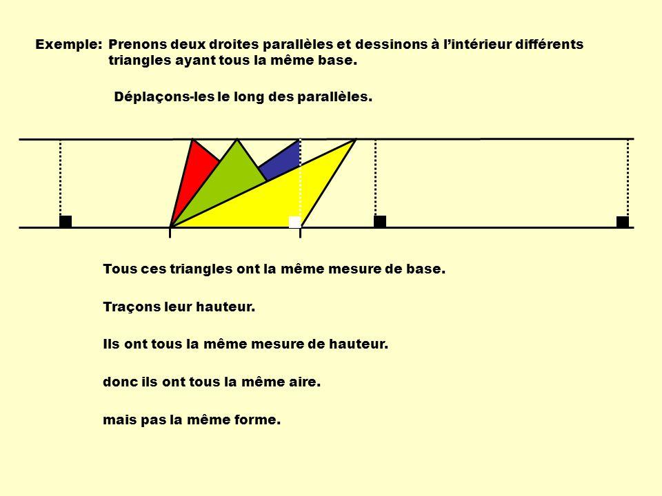 Exemple:Prenons deux droites parallèles et dessinons à lintérieur différents triangles ayant tous la même base. Déplaçons-les le long des parallèles.