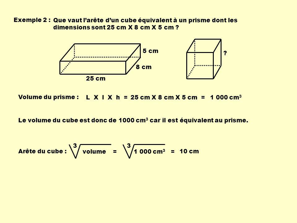 Exemple 2 : Que vaut larête dun cube équivalent à un prisme dont les dimensions sont 25 cm X 8 cm X 5 cm ? Volume du prisme : 25 cm X 8 cm X 5 cm =L X
