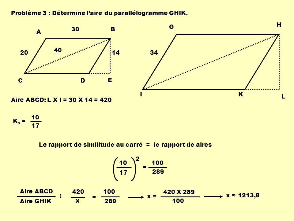 Problème 3 : Détermine laire du parallélogramme GHIK. ABCD E 20 403014 GHIK L 34 Ks =Ks =Ks =Ks =1017 Aire ABCD: L X l = 30 X 14 = 420 Le rapport de s