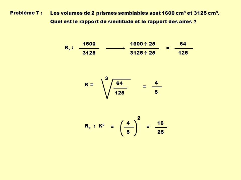 Problème 7 : Les volumes de 2 prismes semblables sont 1600 cm 3 et 3125 cm 3. Quel est le rapport de similitude et le rapport des aires ? Rv :Rv :Rv :